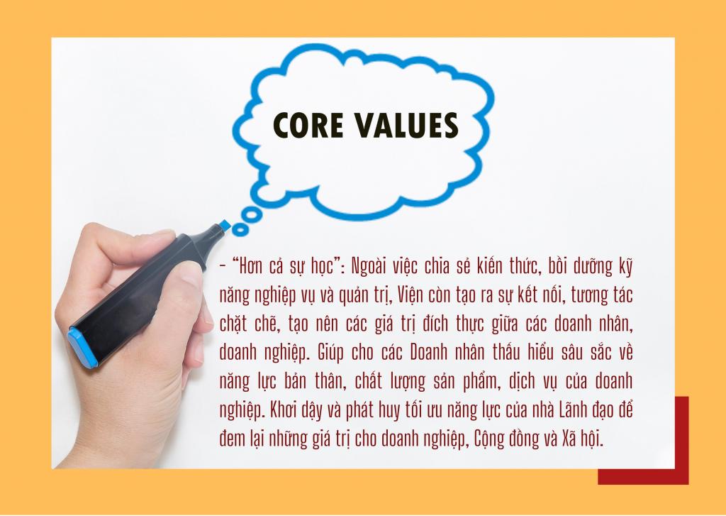 giá trị cốt lõi - Viện đào tạo và phát triển doanh nhân việt nam